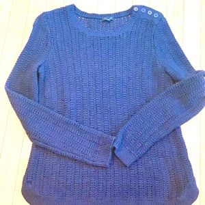 Talbots Open Knit Navy Sweater Size Small